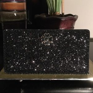 NWT KATE SPADE LARGE WALLET ODETTE GLITTER BLACK